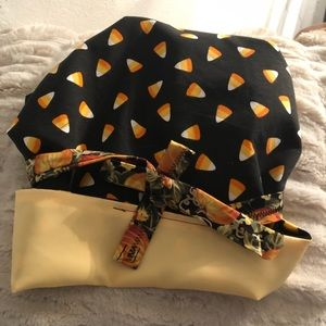 Satin lined halloween scub cap/ sleep bonnet.